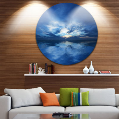 Designart Blue Waters and Blue Sky Sunset SeascapeMetal Artwork