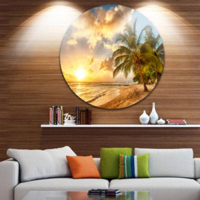 Designart Gorgeous Beach of Island Barbados Seascape Metal Artwork