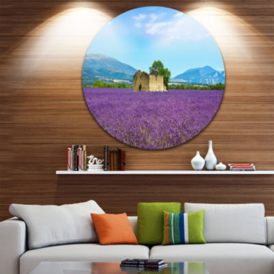 Designart Old House and Tree in Lavender Field Oversized Landscape Wall Art Print