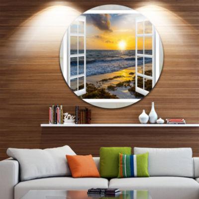 Designart Open Window to Bright Yellow Sunset Seascape Metal Artwork