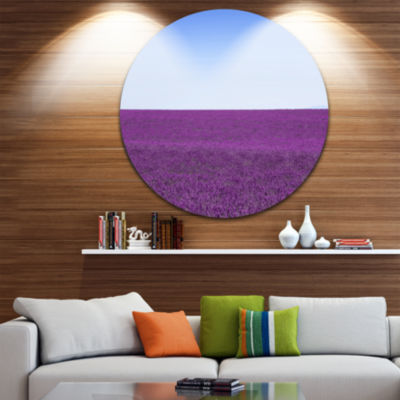 Designart Lavender Flowers with Blue Horizon Oversized Landscape Wall Art Print