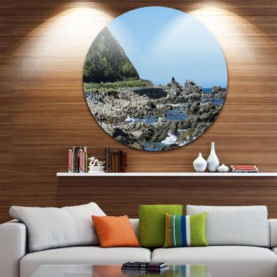Designart Beautiful New Zealand Rocky Beach Seascape Metal Artwork