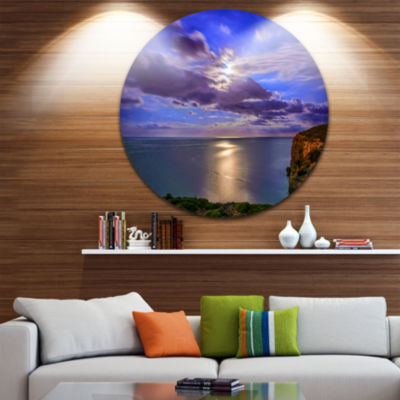 Designart Moon Reflecting in Blue Sea Seascape Metal Artwork