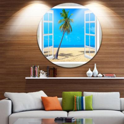 Designart Open Window to Beach with Palm Extra Large Seashore Metal Circle Wall Art
