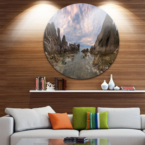 Designart Rocky Beach East Sea on Overcast Day Landscape Metal Circle Wall Art