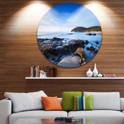 Designart Cala Violina Bay Beach in Maremma ExtraLarge Seashore Metal Circle Wall Art