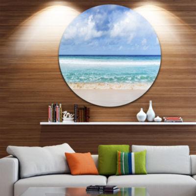 Designart Tranquil Beach under White Clouds Seascape Metal Artwork