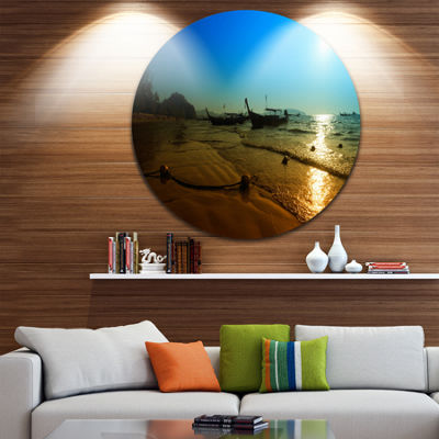 Designart Sunset with Boats in Andaman Sea Seascape Metal Artwork