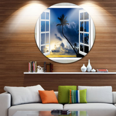 Designart Window to Beach with Coconut Palms Landscape Metal Circle Wall Art