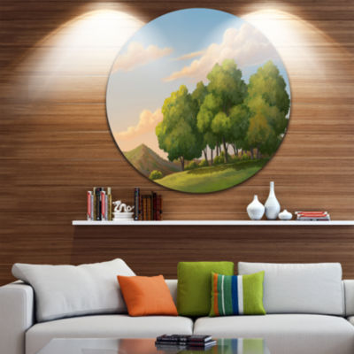 Designart Green Mounds with Green Trees OversizedLandscape Wall Art Print