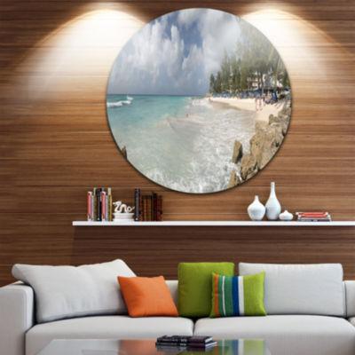Designart Barbados Island White Seashore SeascapeMetal Artwork