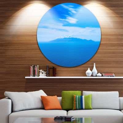 Designart Giglio Island Aerial View from Argentario Extra Large Seashore Metal Circle Wall Art