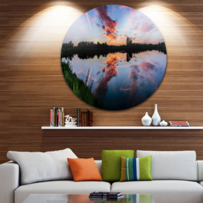 Designart Sunset Sky Mirrored in Lake Water Landscape Metal Circle Wall Art