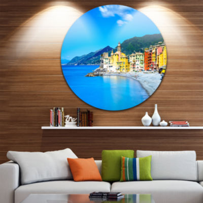 Designart Camogli Church on Sea and Beach View Extra Large Seashore Metal Circle Wall Art
