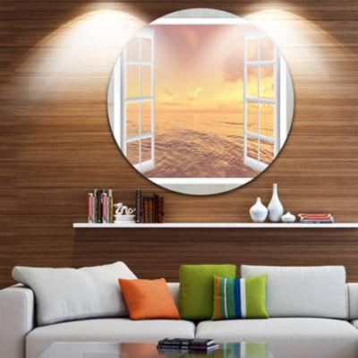 Designart Open Window to Brown Seashore Extra Large Seashore Metal Circle Wall Art