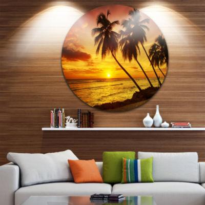 Designart Barbados Island Evening Seashore Seascape Metal Artwork