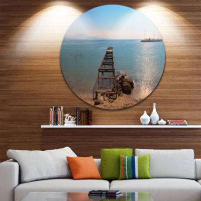 Designart Old Pier at Beach Panoramic View WoodenSea Bridge Metal Circle Wall Art