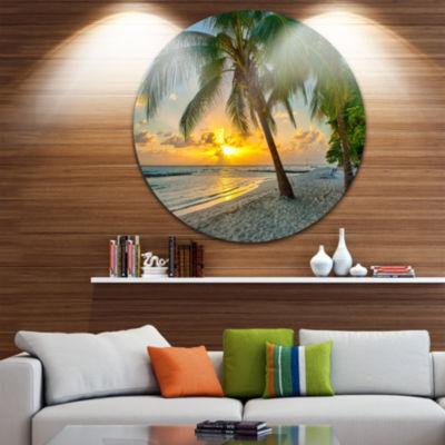 Designart Beach in Caribbean Island of Barbados Seascape Metal Artwork
