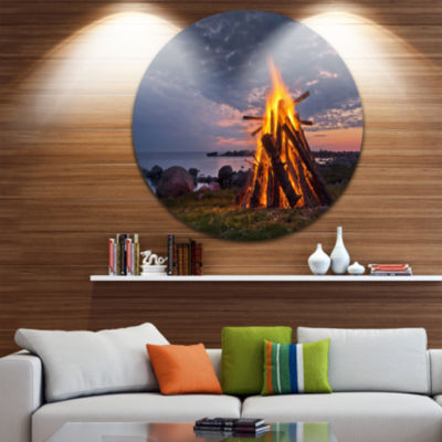 Designart Bonfire on Beach in Summer Night Landscape Metal Circle Wall Art