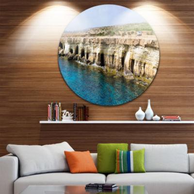 Designart Sea Caves near Cape Greko Panorama Seascape Metal Artwork