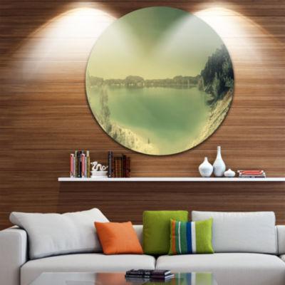 Designart Blurred Sea with Mountain Views SeascapeMetal Artwork