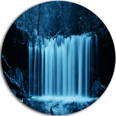 Designart Waterfalls in Wood Black and White Landscape Metal Circle Wall Art