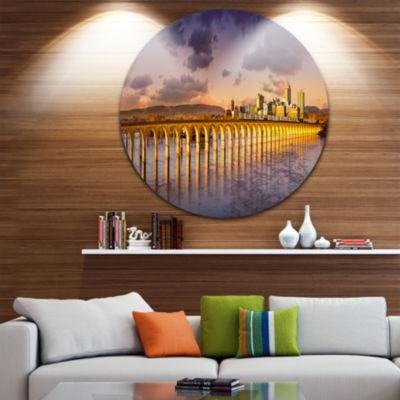 Designart Pennsylvania Railroad Bridge Skyline Landscape Metal Circle Wall Art