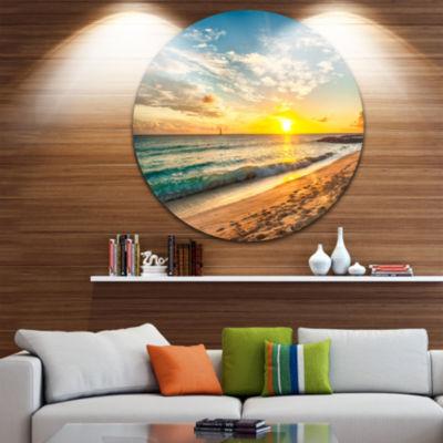 Designart White Beach in Island of Barbados Seascape Metal Artwork