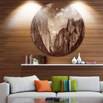 Designart Rocks and Forest in Black and White Landscape Metal Circle Wall Art