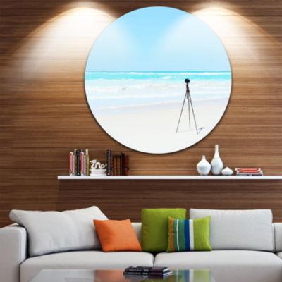 Designart Digital Camera and Tripod on Beach Oversized Landscape Wall Art Print