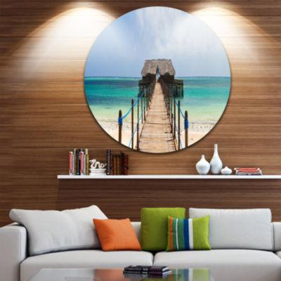 Designart Exotic Wood Jetty at Zanzibar Island Wooden Sea Bridge Metal Circle Wall Art