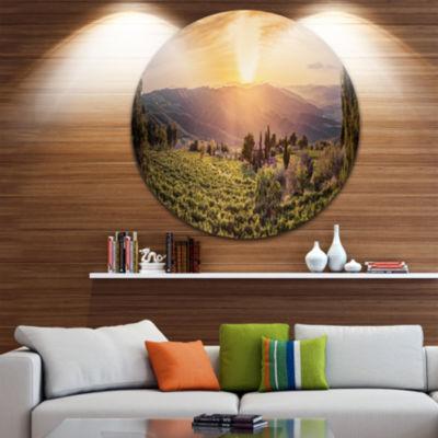 Designart Vine Farm at Sunset Tuscany Panorama Landscape Metal Circle Wall Art