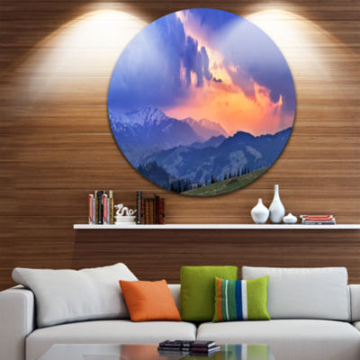 Designart Sunny Spring Evening Panorama OversizedLandscape Wall Art Print