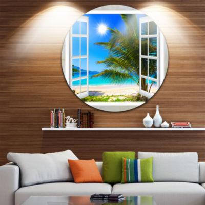 Designart Window Open to Beach with Palm Extra Large Seashore Metal Circle Wall Art