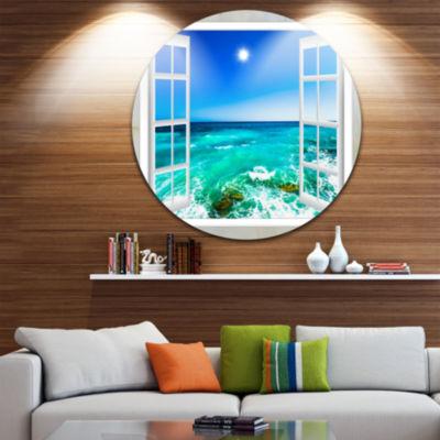 Designart Open Window to Wavy Ocean Extra Large Seashore Metal Circle Wall Art