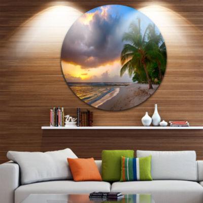 Designart Beautiful Beach with Palms in BarbadosSeascape Metal Artwork