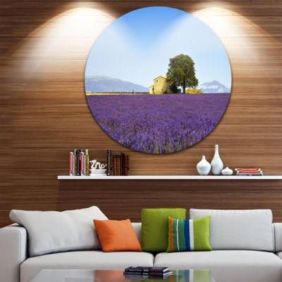 Designart Lavender Flowers Blooming Field Oversized Landscape Wall Art Print