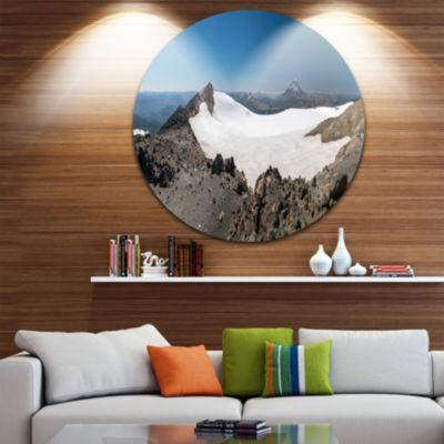 Designart Hiking to Vulkan Quetrupillan LandscapeMetal Circle Wall Art