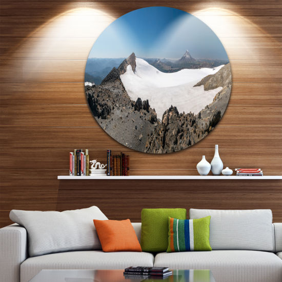 Designart Hiking to Vulkan Quetrupillan LandscapeMetal Circle Wall Art