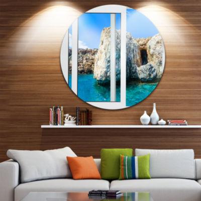 Designart Open Window to Rocky Sunny Ocean ExtraLarge Seashore Metal Circle Wall Art