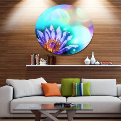 Designart Blossoming Purple Lotus Flower Floral Metal Circle Wall Art