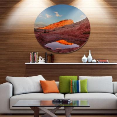 Designart Vermillion Cliffs Lake in Morning Oversized Landscape Metal Circle Wall Art