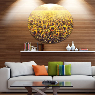 Designart Blooming Sunflowers At Sunset OversizedLandscape Metal Circle Wall Art