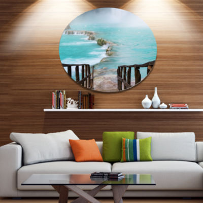 Designart Old Bridge into Mexico Waterfall Seashore Metal Circle Wall Art