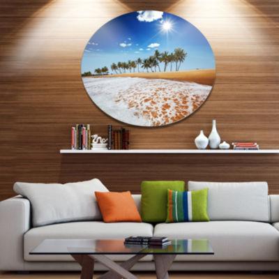 Designart Beautiful Seashore and Palm Trees Seashore Metal Circle Wall Art