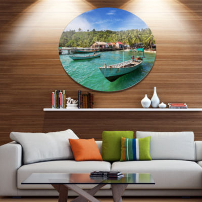 Designart Fishing Boats in Kep Cambodia Seashore Metal Circle Wall Art