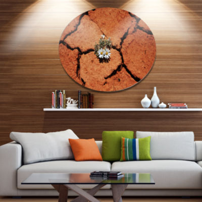 Designart Surviving Flowers on Drought Land ExtraLarge Landscape Metal Circle Wall Art