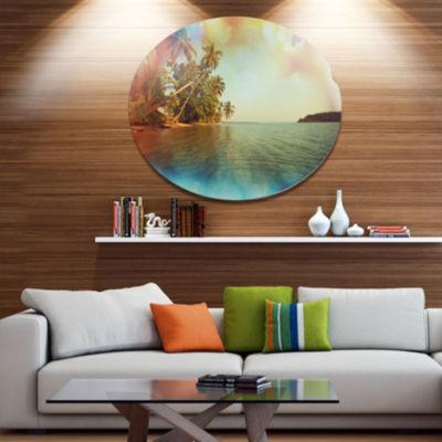 Designart Serene Tropical Beach with Palms Seashore Metal Circle Wall Art