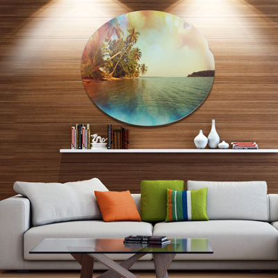 Designart Serene Tropical Beach with Palms Seashore Metal Circle Wall Art