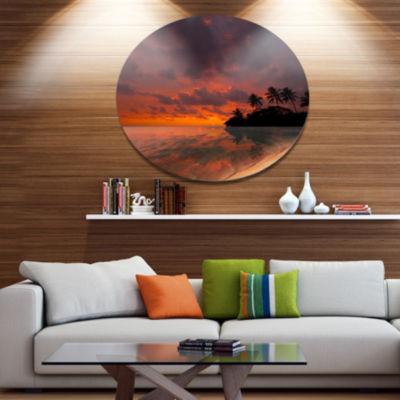 Designart Beautiful Sunset At Tropical Beach Seashore Metal Circle Wall Art